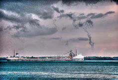 Detroit River Shipping in Hdr Royalty Free Stock Images