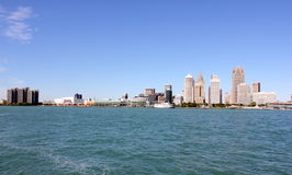 Detroit River SkyLine Royalty Free Stock Photos
