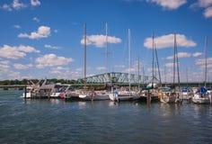 Detroit River South Boat Marina stock images