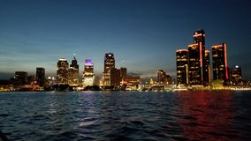 Detroit on the River. Waterfront, skylines, riverwalk royalty free stock photos