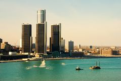 Detroit riverfront. Detroit city skyline and riverfront in daytime stock photos