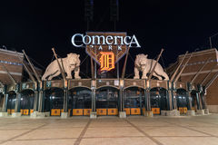 Detroit`s Comerica Park at Night Stock Images