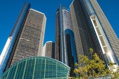 Towering Renaissance Building Detroit. Detroit`s iconic Ren Cen complex building downtown stock image