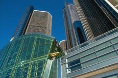Towering Renaissance Building Detroit. Detroit`s iconic Ren Cen complex building downtown royalty free stock image