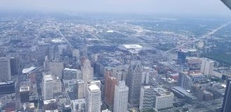 Detroit from the sky stock image