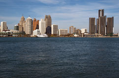 Detroit Skyline Across The Detroit River From Canada November 2016 Stock Photos