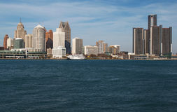 Detroit Skyline Across The Detroit River From Canada November 2016 Royalty Free Stock Images