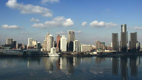 Detroit Skyline Afternoon Time Lapse 1 stock footage