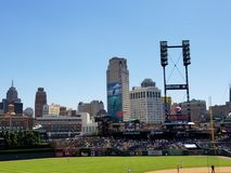 Detroit Skyline from Comerica Park stock photography