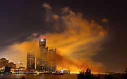 Detroit skyline covered in smoke Royalty Free Stock Photos