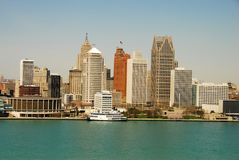 Detroit skyline by day Royalty Free Stock Photography