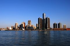 Detroit skyline in daytime stock photo