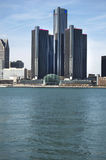 Detroit Skyline Detroit River Forground Royalty Free Stock Photo