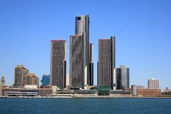 Detroit Skyline. The downtown Detroit skyline looking for the Detroit River Royalty Free Stock Photo