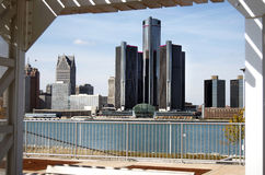 Detroit Skyline Framed 2012 Stock Image