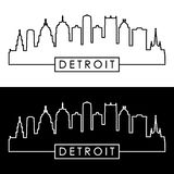 Detroit skyline. Linear style Royalty Free Stock Photography