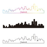 Detroit skyline linear style with rainbow Stock Images