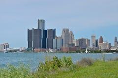 Detroit Skyline. Skyline of Detroit, Michigan from Belle Isle stock image
