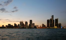 Detroit skyline night. As seen from the Canadian side Royalty Free Stock Images