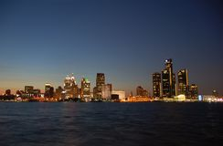 Detroit skyline by night. Downtown waterfront skyline at night Royalty Free Stock Image