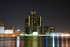 Detroit skyline at night royalty free stock photo