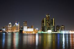Detroit skyline at night Stock Photos