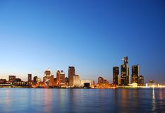 Detroit skyline by night Royalty Free Stock Photo