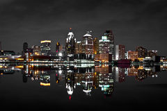 Detroit Skyline Night Shot Stock Images