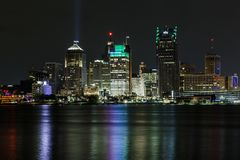 Detroit skyline, a view from Windsor, Ontario, Canada royalty free stock photos
