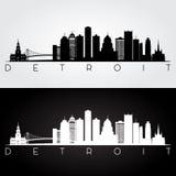 Detroit skyline silhouette. Detroit USA skyline and landmarks silhouette, black and white design, vector illustration