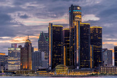 Detroit skyline. Skyscrapers at Detroit United state of America Stock Image