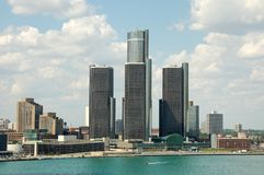 Detroit skyline with three towers. Downtown skyline with waterfront and three towers royalty free stock photos