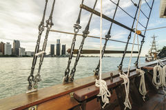 Detroit skyline thru tallship rigs Royalty Free Stock Photo