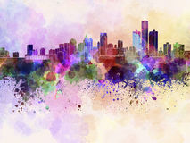 Detroit skyline in watercolor background Royalty Free Stock Image