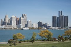Detroit Skyline, Windsor Foreground Royalty Free Stock Photo
