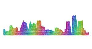 Detroit-Skylineschattenbild - Mehrfarbenlinie Kunst Stockfoto