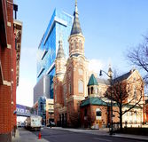 Detroit. St. Mary Roman Catholic Church of Detroit, Michigan, is located in that city`s Greektown on Monroe Ave. The building in the back is the casino Stock Photography