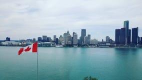 Detroit-Stadt-Skyline lizenzfreies stockbild