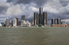 Detroit With Stormy Looking Sky Spring Royalty Free Stock Photography