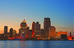 Detroit by sunset Royalty Free Stock Photo