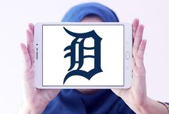 Detroit Tigers baseball team logo. Logo of Detroit Tigers team on samsung tablet holded by arab muslim woman. The Detroit Tigers are an American professional Royalty Free Stock Image