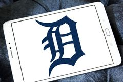 Detroit Tigers baseball team logo. Logo of Detroit Tigers team on samsung tablet. The Detroit Tigers are an American professional baseball team Royalty Free Stock Images