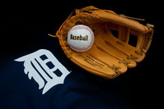 Detroit tigers. ZAGREB , CROATIA - AUGUST 19 , 2014 :  MLB Detroit Lions club equipment , logo ball and glove , product shot Royalty Free Stock Photography