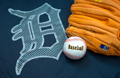 Detroit tigers. ZAGREB , CROATIA - AUGUST 19 , 2014 :  MLB Detroit Lions club equipment , logo ball and glove , product shot Stock Image