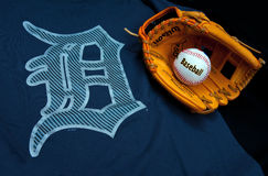 Detroit tigers. ZAGREB , CROATIA - AUGUST 19 , 2014 :  MLB Detroit Lions club equipment , logo ball and glove , product shot Royalty Free Stock Photos