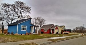 Detroit Tiny Homes. Tiny homes in Detroit are popping up in Cass Corridor Community of Detroit Michigan. Photo captured in December 2017 Royalty Free Stock Image