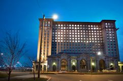 Detroit, Michigan USA, April 8, 2018, Michigan Central Station, MCS, Detroit Train Depot at Night Royalty Free Stock Photography