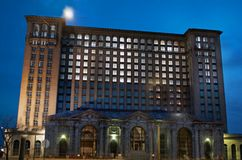 Detroit, Michigan USA, April 8, 2018, Michigan Central Station, MCS, Detroit Train Depot at Night Royalty Free Stock Image
