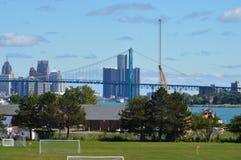 Detroit. A view of the Detroit River, Ambassador Bridge, Canada, Detroit and buildings Royalty Free Stock Image