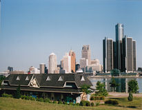 Detroit Waterfront. From the Canadian side in Windsor Ontario. GM building Renaissance Center to the right. Windsor Old Train Station on Windsor Side Stock Images